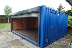 Shipping Containers 277604764517626575 - x Bike Store Lined with Power Source by Container Office, Container Shop, Container Cabin, Storage Container Homes, Container House Design, Tiny House Design, Shipping Container Workshop, Shipping Container Conversions, Shipping Container Buildings