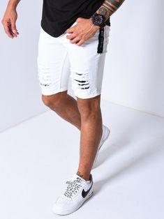 "Men Skinny 2 Side Bands ""let's Go"" - Blue 4057 White Ripped Shorts, Mens White Shorts, Skinny Shorts, Ripped Denim, Denim Jeans, Hipster Noir, White Pants Outfit, Streetwear Shorts, Like4like"