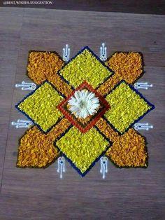 Flower Rangoli For Diwali Flower Rangoli Images, Simple Flower Rangoli, Rangoli Designs Flower, Rangoli Border Designs, Small Rangoli Design, Rangoli Patterns, Colorful Rangoli Designs, Rangoli Ideas, Rangoli Designs Diwali