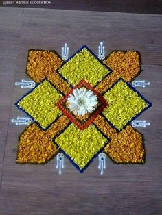 Flower Rangoli For Diwali Flower Rangoli Images, Simple Flower Rangoli, Simple Rangoli Designs Images, Rangoli Designs Latest, Rangoli Designs Flower, Small Rangoli Design, Colorful Rangoli Designs, Rangoli Patterns, Rangoli Ideas