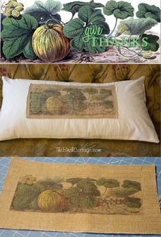 Fall Burlap Give Thanks Pillow Cover Tutorial by The Birch Cottage