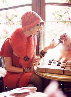 Paris je t'aime I US Vogue I September 2007 I Models: Coco Rocha, Agyness Deyn, Sasha Pivovarova, Guinevere van Seenus, Caroline  Trentini and Gemma Ward. Editor: Grace Coddington, Photographer: Steven Meisel.
