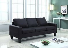 Home Life 3 Person Contemporary Upholstered Linen Sofa 77 Wide Black *** Read more reviews of the product by visiting the link on the image.Note:It is affiliate link to Amazon.