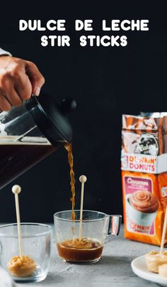 Everyone loves a creamy and decadent treat this fall, so why not make your own? This recipe for Dulce de Leche Drink Stir Sticks are perfect for adding indulgent flavor to your already delicious Dunkin' At Home's Bakery Series® Cinnamon Coffee Roll. Plus, pick up the ingredients wherever you buy groceries and you've also got a thoughtful homemade gift idea for the holidays!