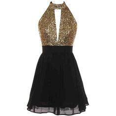 Black Open Back Sequin Dress ($52) ❤ liked on Polyvore featuring dresses, sequin dress, open back dresses, open back sequin dress, sequin cocktail dresses and sequin embellished dress