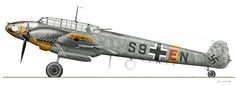 Messerschmitt Bf 110 E-1, WNr 4054, 5./ZG 1. Pilot: Oberfeldwebel Willi Dibowski, radio operator: Unteroffizier Kurt Meier. Based at Konstantinovka, Soviet Union, July 13, 1942.  Upper surfaces: RLM 74 Dunkelgrau, RLM 75 Mittelgrau with parts of the fuselage and wings oversprayed in 76 Lichtblau. Fuselage mottling: RLM 02 Grau, RLM 74 Dunkelgrau and RLM 75 Mittelgrau Undersides: RLM 76 Lichtblau © Claes Sundin