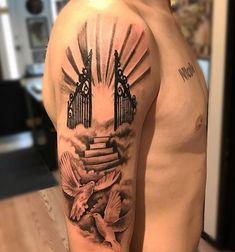 beautiful dove and stairway to heaven tattoo ink tattoo kchen beautiful dove and stairway to heaven tattoo - Best Tattoos Half Sleeve Tattoos Forearm, Half Sleeve Tattoos Drawings, Half Sleeve Tattoos For Guys, Best Sleeve Tattoos, Dope Tattoos, Tattoos Arm Mann, Forarm Tattoos, Clock Tattoos, Tatoos