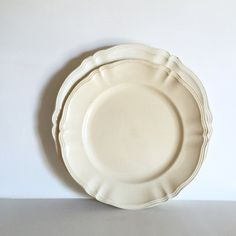 Stunning Set of French Antique Round Serreguemines Serving Dishes - Shabby Chic Cream Ironstone Platters Large and Medium by LaVieEnPastis on Etsy