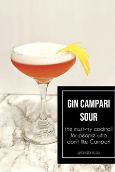 Gin Campari Sour | The Cocktail for People Who Love and Hate Campari. This classic cocktail recipes calls for 4 simple ingredients: gin + campari + lemon juice + egg white Easy Gin Cocktails, Campari Cocktails, Cocktail Bitters, Gin Cocktail Recipes, Sour Cocktail, Cocktail Making, Classic Cocktails, Happy Hour Drinks, How To Make Drinks