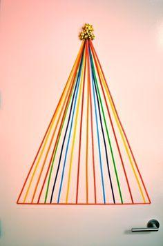 DIY - ribbon tree, choose colours to compliment your decor. Or Christmas colors. Wall Christmas Tree, Tacky Christmas, Christmas Ribbon, Modern Christmas, Christmas 2014, Christmas Colors, Xmas Tree, All Things Christmas, Merry Christmas
