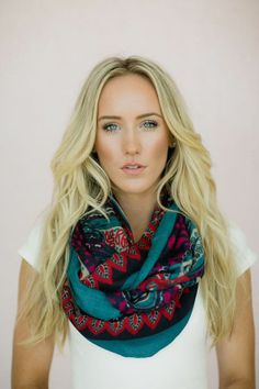 Bohemian Paisley, Scarf, Colorful, Wide Floral Scarf Loop Scarf Floral Paisley Women's in Navy, Turquoise & Fuchsia (SCF-19)