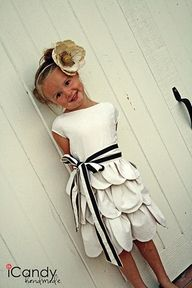 white and black flower girl dress
