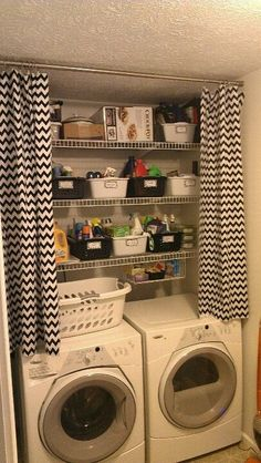 This is uncanny to my set-up!  I think I want to set the curtains back a bit more than that, though, so that some of the washer/dryer surface protrudes.