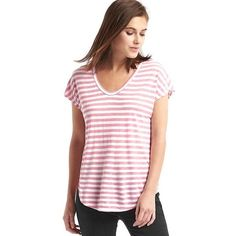 Gap Women Cap Sleeve Stripe Tee ($13) ❤ liked on Polyvore featuring tops, t-shirts, pink stripe, regular, pink t shirt, relaxed fit t shirt, stripe t shirt, scoop neck tee and scoop neck t shirt