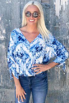 Light Blue Shirred Sleeve Top