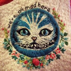 We are all mad here! Still in progress #embroidery #textileart #aliceinwonderland
