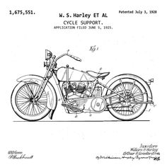 1928 Harley Davidson Motorcycle Patent Print Art Drawing