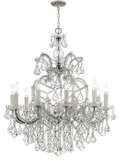 Crystorama 4438-CH-CL-MWP Maria Theresa 11 Light Clear Crystal Chrome Chandelier