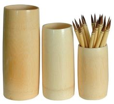 Bamboo Brush Vase- Medium (8 Inch Tall) by Yasutomo. Save 41 Off!. $3.99. Makes an ideal and elegant brush holder for your artist brushes. Vase is 8 Inches tall with a 3 Inch Diameter. Waterproof. These vases are very simple yet very beautiful. They are made from a single cut piece of bamboo that is lightly finished on the outside with a protective varnish. The inside of the vase is unfinished- making these ideal for brush and pencil storage but not for use as a water vase. Since the...