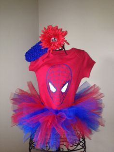 Spiderman costume spider girl onesie tutu set with hair clip newborn 3-6 12 months on Etsy, $20.00