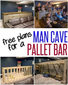 Woodworking Plans | DIY Man Cave Pallet Bar ~ It cost about $135 to build this10 foot bar from reclaimed pallet wood. It's perfect for extra seating and an eating area during the big game. Get the free plans to build it yourself!