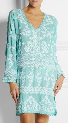 Natalie embroidered voile kaftan ~ very nice for spring/summer near the beach