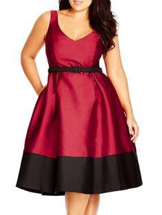 Color Block Excellent V Neck Plus Size Flared Dress