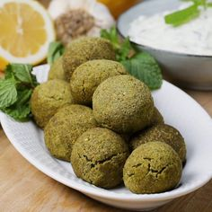 Featuring Baked Falafel And Tzatziki Sauce and Classic Falafel And Tahini Sauce Salsa Tzatziki, Tzatziki Sauce, Tahini Sauce, Falafels, Sauce Recipes, Baking Recipes, Vitamix Recipes, Baked Falafel, Dry Chickpeas