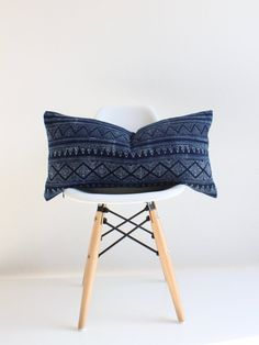 Indigo Blue Hmong Batik Pillow Cover  This cover is inspired by the intricate motifs of traditional Hmong textiles. The pattern is handmade and