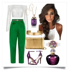 Spring/Summer style. White. Green. Plum by martika-1976 on Polyvore featuring moda, Maison Rabih Kayrouz, Steve Madden, Yves Saint Laurent, Ted Baker, Le Gramme, LeVian, GUESS by Marciano, PIERO GUIDI and Christian Dior