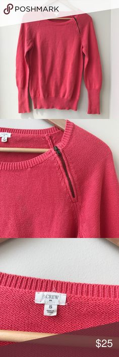 Like New J. Crew Coral Sweater J. Crew Coral Knit Sweater. Long sleeves with zipper accent at neck line. Size small. In excellent condition. J. Crew Sweaters