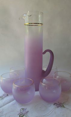 Blendo West Virginia Glass Lavender Frosted Pitcher & Six Glasses