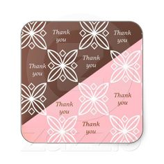 Pink and Chocolate Brown Modern Thank You Stickers