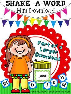 FREE Decoding and Phonics Reading Practice ~ Shake-a-Word.  FUN word family practice.  TeacherKarma.com