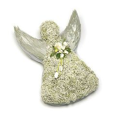 Tribute Angel Based angel wreath - made from Gypsophila and spray of coloured silver leaves, with white Tulips and complementary foliage. Grave Flowers, Funeral Flowers, Flower Factory, Funeral Flower Arrangements, Funeral Tributes, Sympathy Flowers, White Tulips, Floral Foam, Sympathy Gifts