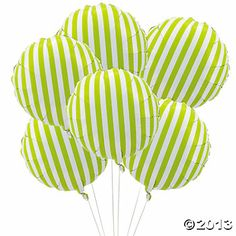 stripped balloons | Lime Green Striped Mylar Balloons - Oriental Trading