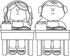 clip art black and white | Black and White School Kids Listening to Books Clip Art Image - black ...