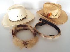 2 VINTAGE STRAW COWBOY HATS 7 1 4 BEE COOL IPRA BAILEY U-ROLLIT 2 FEATHER  BANDS  STETSONRESISTOL  Cowboy  Everyday b3111056ba06