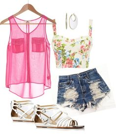 Perfect summer time outfit! But probably wouldn't wear the shoes,not a sandle fan