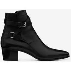 Saint Laurent Signature Blake 40 Jodhpur Ankle Boot (3,180 PEN) found on Polyvore featuring shoes, boots, ankle booties, black, black shootie, buckle booties, short boots, black buckle boots and black buckle booties