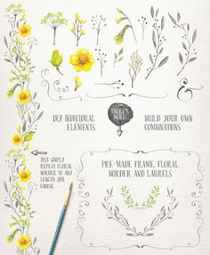 195 Breathtaking Watercolor & Vintage Floral Elements - off!Add a real delicate floral touch to any project you're working on with this amazing bundle of watercolor collections from Lisa Glanz. Watercolor Wedding, Watercolor Flowers, Web Design, Graphic Design, Corona Floral, Wreath Drawing, Floral Border, Wedding Paper, Wedding Card