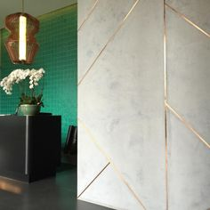 Novacolor marmorino plaster with brushed copper inlays. Project: Oasia Hotel Downtown, Singapore Architect: WOHA www.monjusurfaces.com