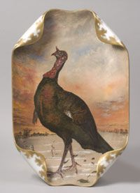"""DINNER--WILD TURKEY."" (Service/decorative) State dinner service of Rutherford B. Hayes (President 1877-81) Designed by Theodore Russell Davis, American, 1840-1894. Made by Haviland et Cie, Limoges, France, c.1880-87. Porcelain with enamel, chromolithograph and gilt decoration. Length: 19 7/8 inches (50.5 cm) P39"