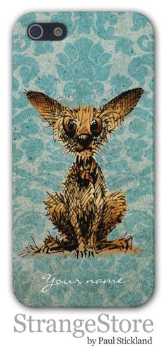 Cute little scruffy Chihuahua on vintage damask iPhone case by Paul Stickland for StrangeStore on Zazzle #strangestore #dogs #chihuahuas