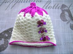 Handmade Baby girls HAT, for Newborn Girl, PREMIE, 0-3 Months, hand-knitted fancy pattern white hat with pink leaf top, white colour hat by ramutez on Etsy