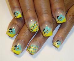 bright yellow french by Pilar - Nail Art Gallery nailartgallery.nailsmag.com by Nails Magazine www.nailsmag.com #nailart