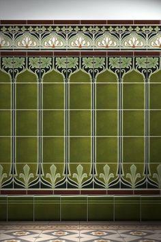 Carreau Art Nouveau F Art Nouveau Bedroom, Art Nouveau Interior, Art Nouveau Furniture, Raku Pottery, Design Art Nouveau, Art Nouveau Pattern, Azulejos Art Nouveau, Victorian Hallway, Art Nouveau Tiles