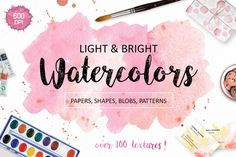 Watercolor Textures Pack with over 100 hi-res files! This pack is very-very handy as the textures have beautiful colors (tender and light or bright and vibrant), they come in separate files (PNG or JPG) and in a very good resolution (300 and 600 DPI, some textures are 6900px width!).