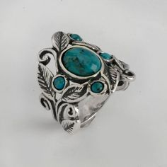 Classic Shablool Didae Israel Ring Sterling Silver Blue and Green Round  Women