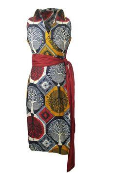 African Print Dress, Wrap with Sash Belt-1